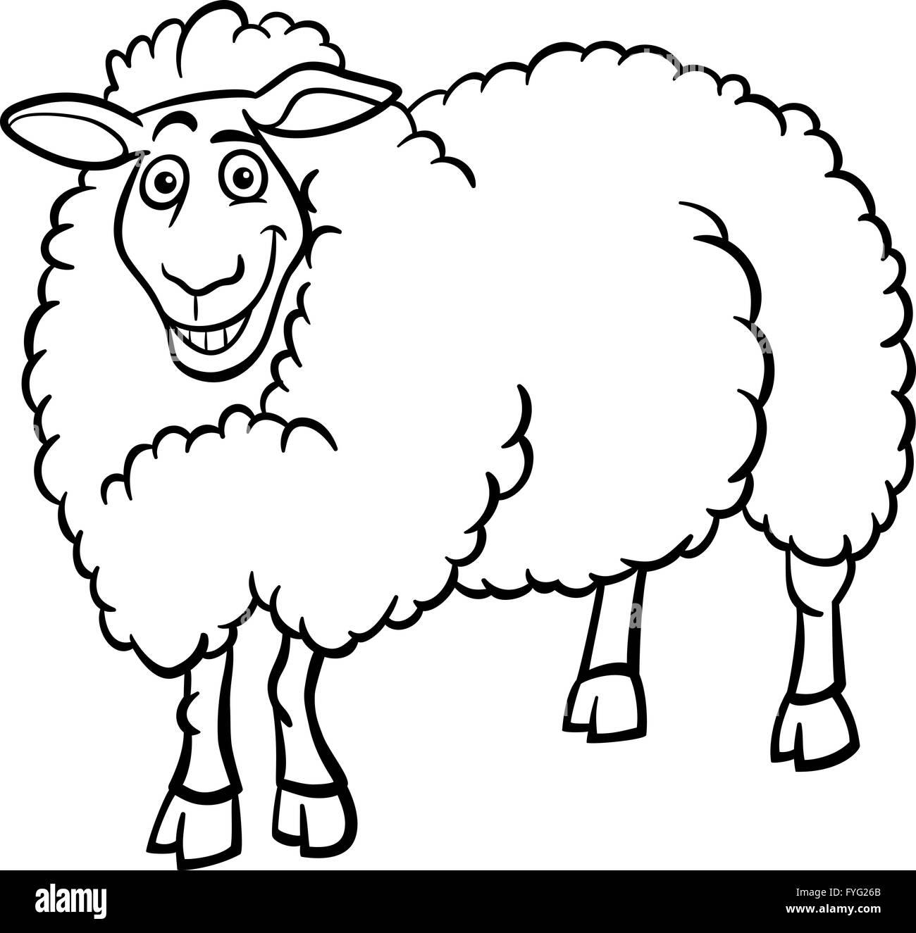 Farm Sheep Cartoon Coloring Book Imágenes De Stock Farm Sheep