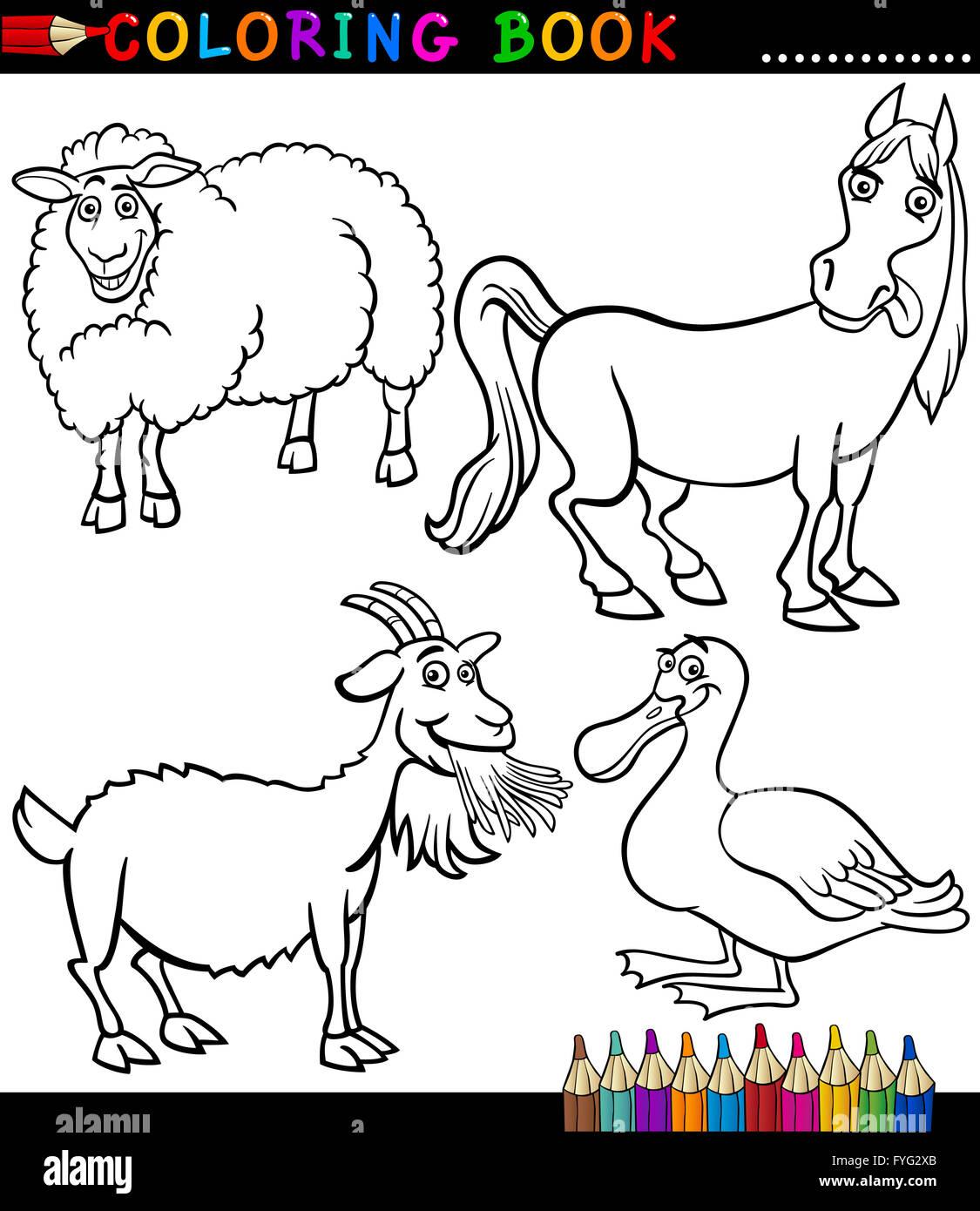 Dibujos Animados Animales De Granja Para Colorear Foto Imagen De