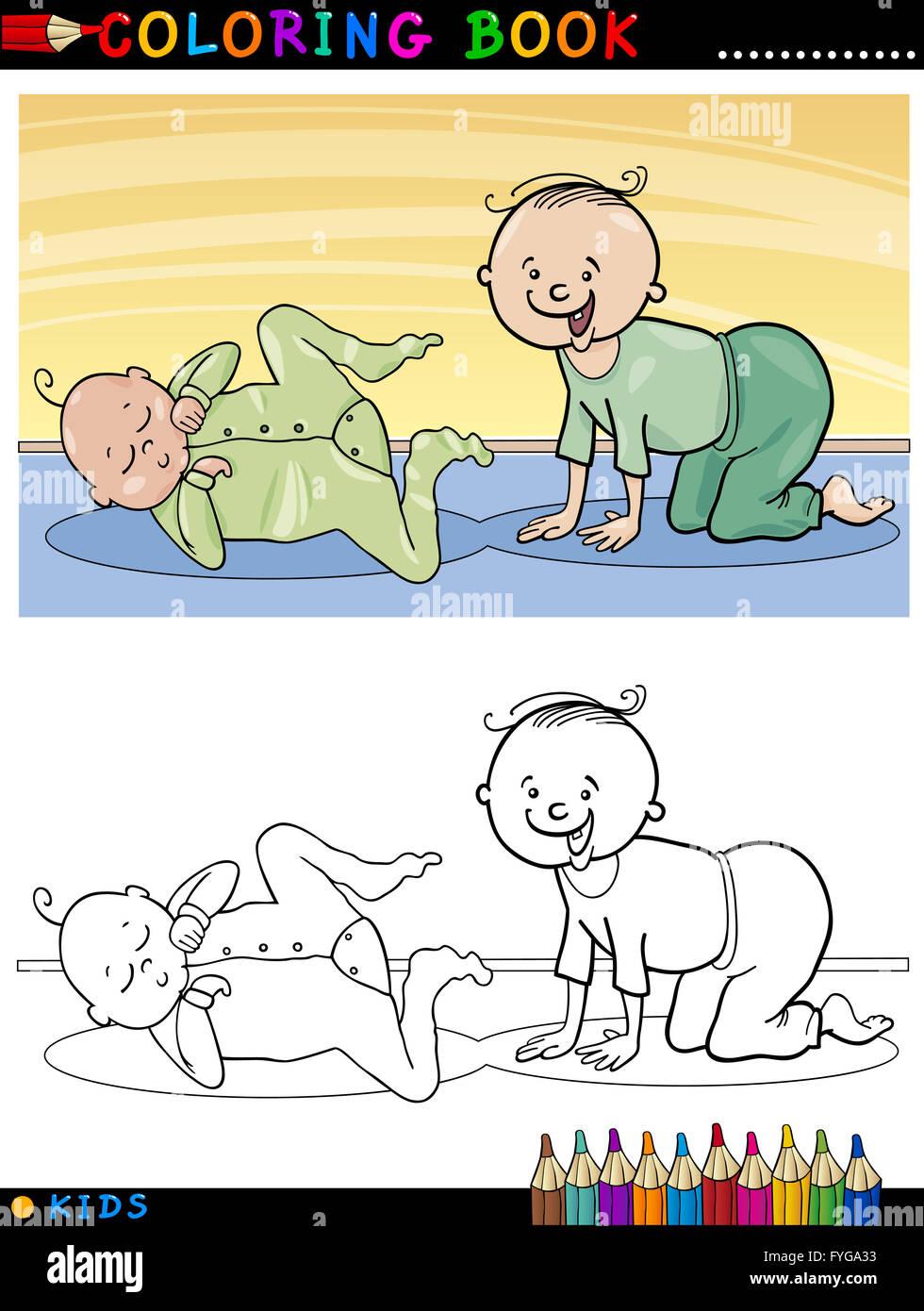 Los Bebés Lindos Dibujos Animados Para Colorear Foto Imagen De