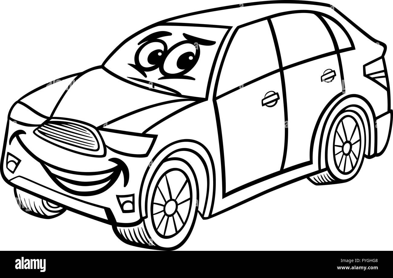 Coche Suv Página Para Colorear Dibujos Animados Foto Imagen De