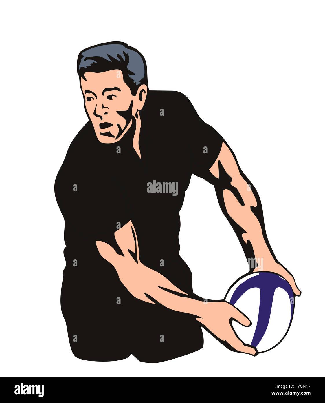 Jugador de rugby All Blacks pasando la bola Imagen De Stock
