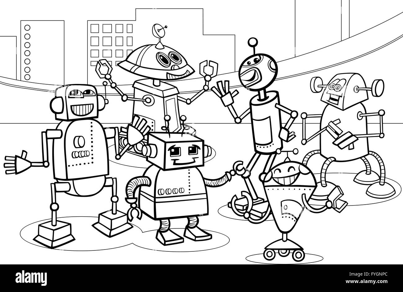 Grupo De Robots Página Para Colorear Dibujos Animados Foto Imagen