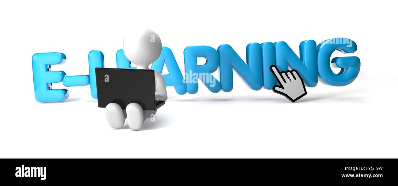 Render de un hombre con un ordenador portátil y el texto e-learning Foto de stock