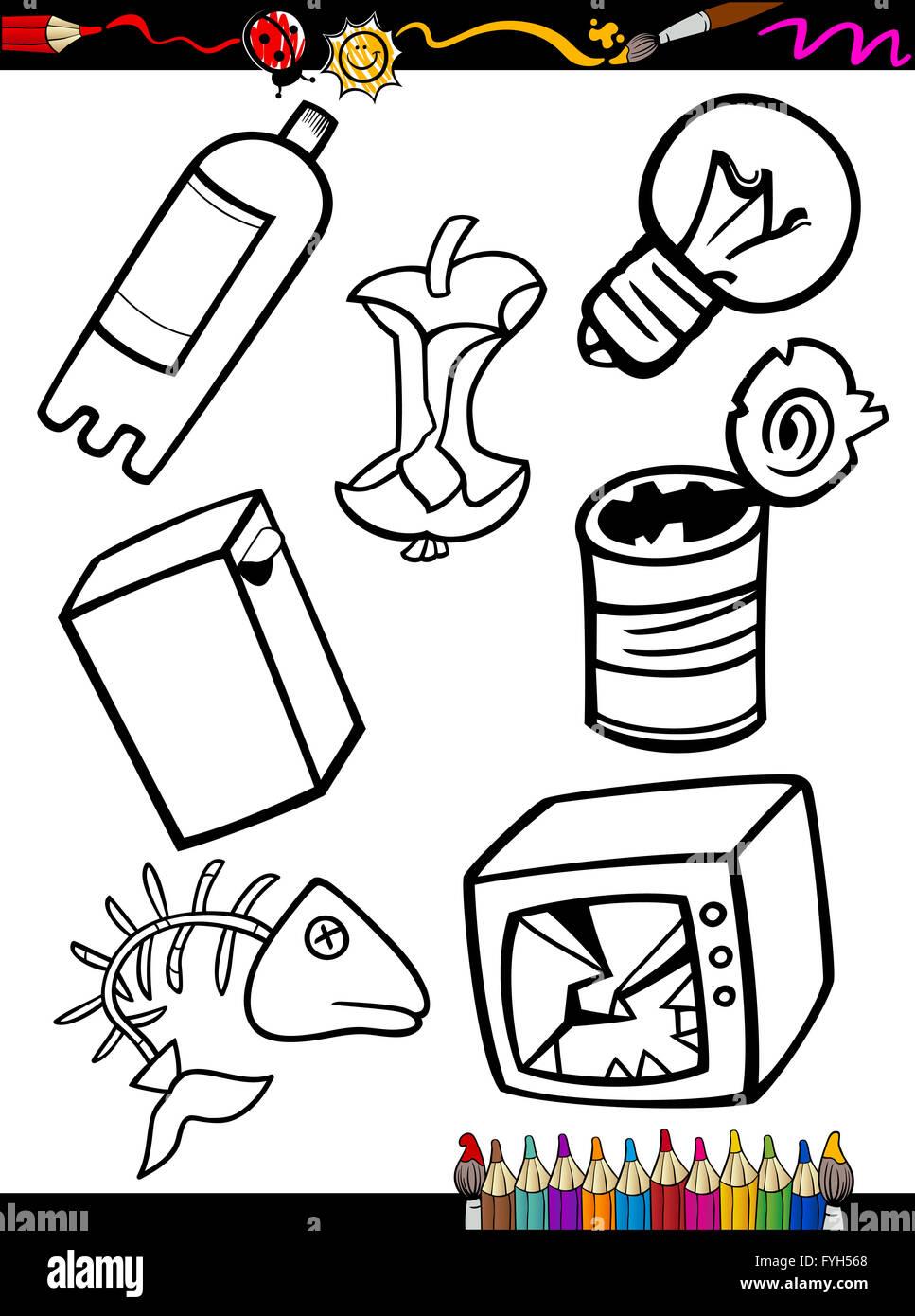 Pagina Para Colorear Objetos Basura De Dibujos Animados Foto