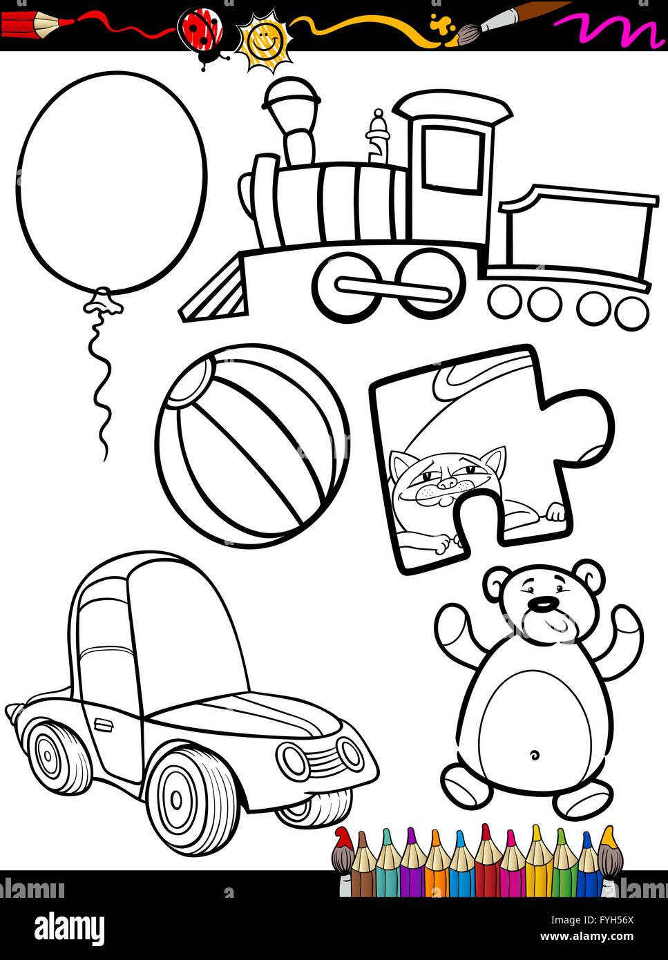 Cartoon Juguetes Objetos Página Para Colorear Foto Imagen De Stock