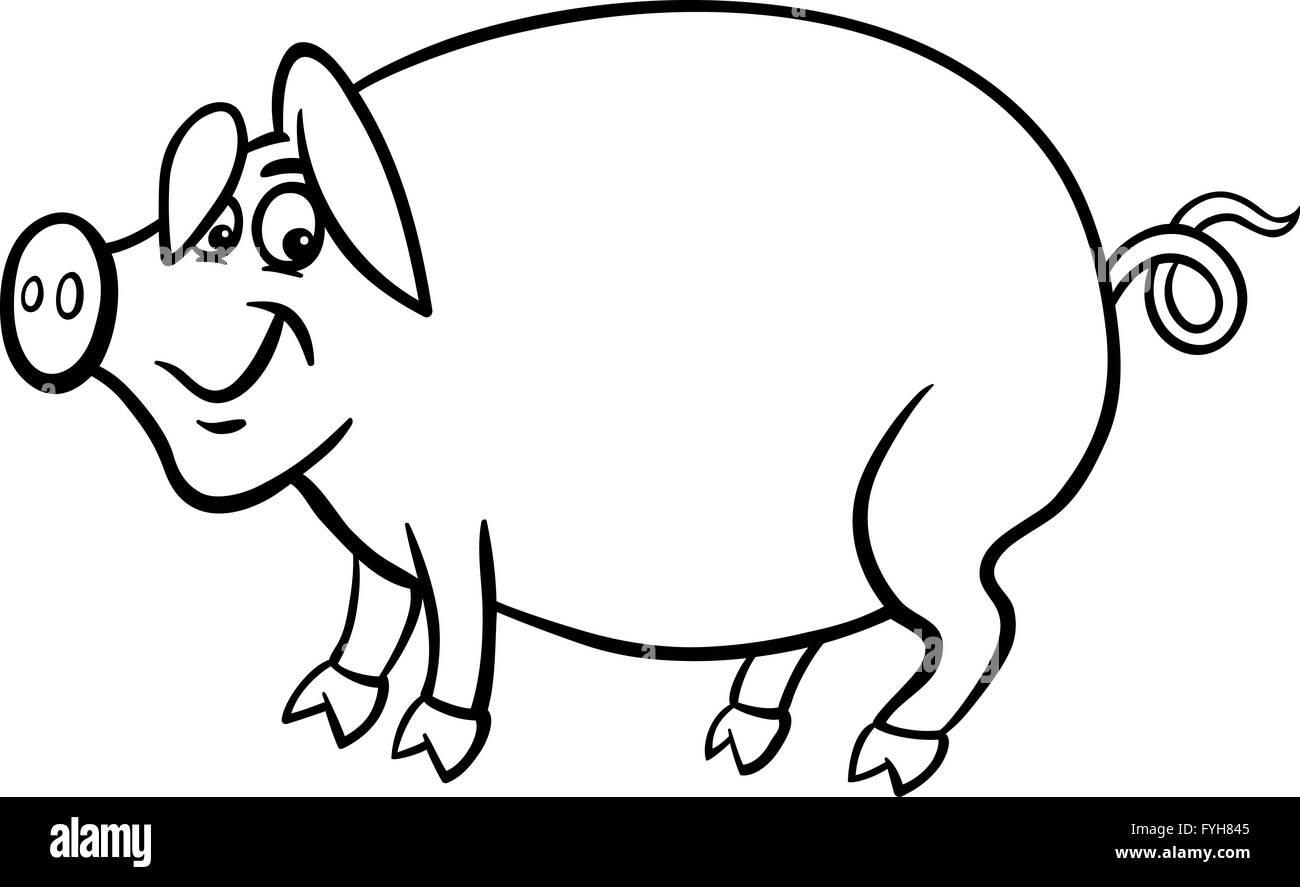Granja De Cerdos Para El Libro De Colorear Dibujos Animados Foto
