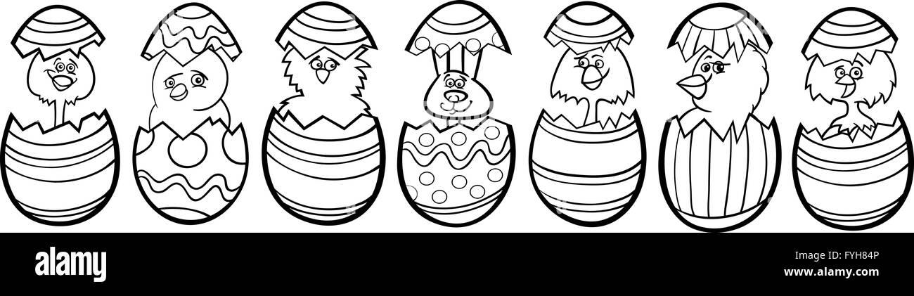 Pollos En Los Huevos De Pascua Para Colorear Dibujos