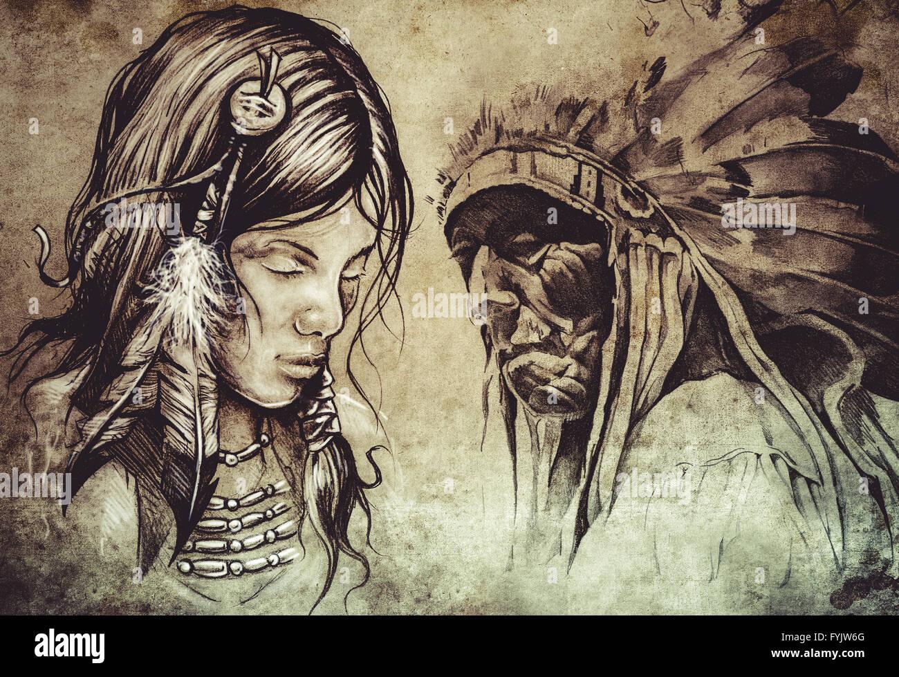 Mujer India Americana Tatuaje Boceto Diseno Artesanal Sobre Papel