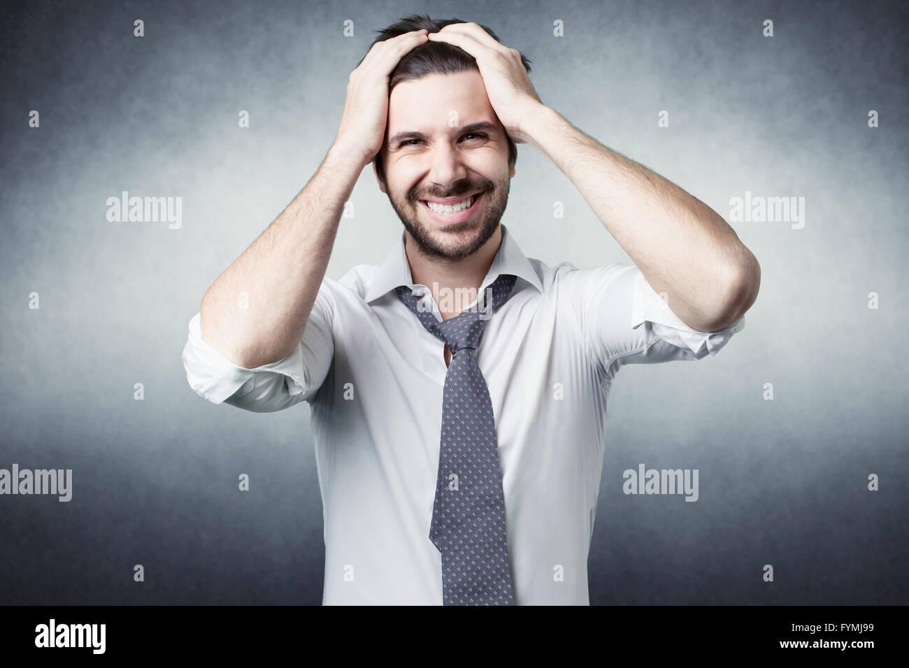 Hombre Barbado confundido Imagen De Stock