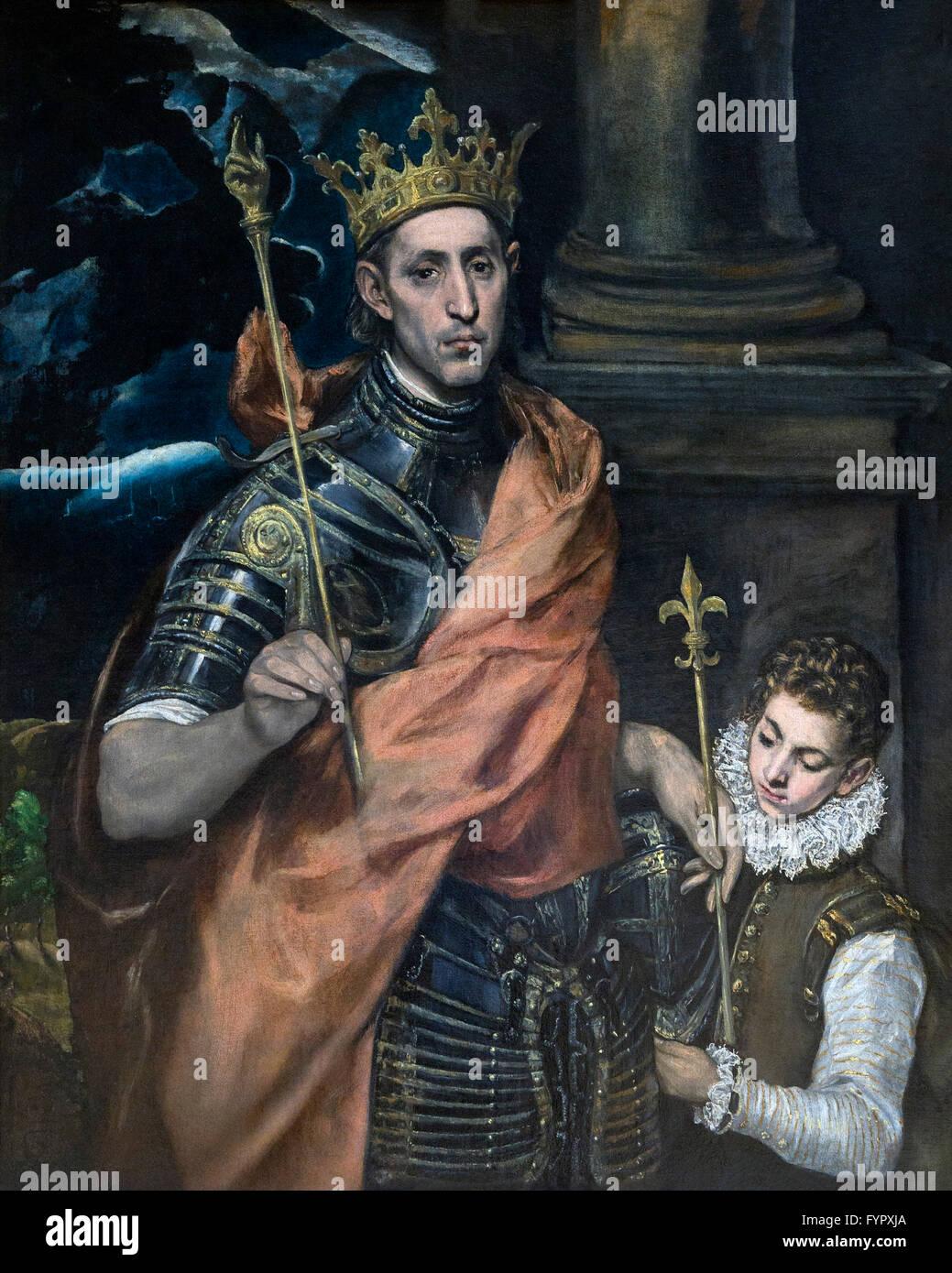 San Luis Rey de Francia con una página, de El Greco, 1585-1590, Musée du Louvre, París, Francia, Imagen De Stock