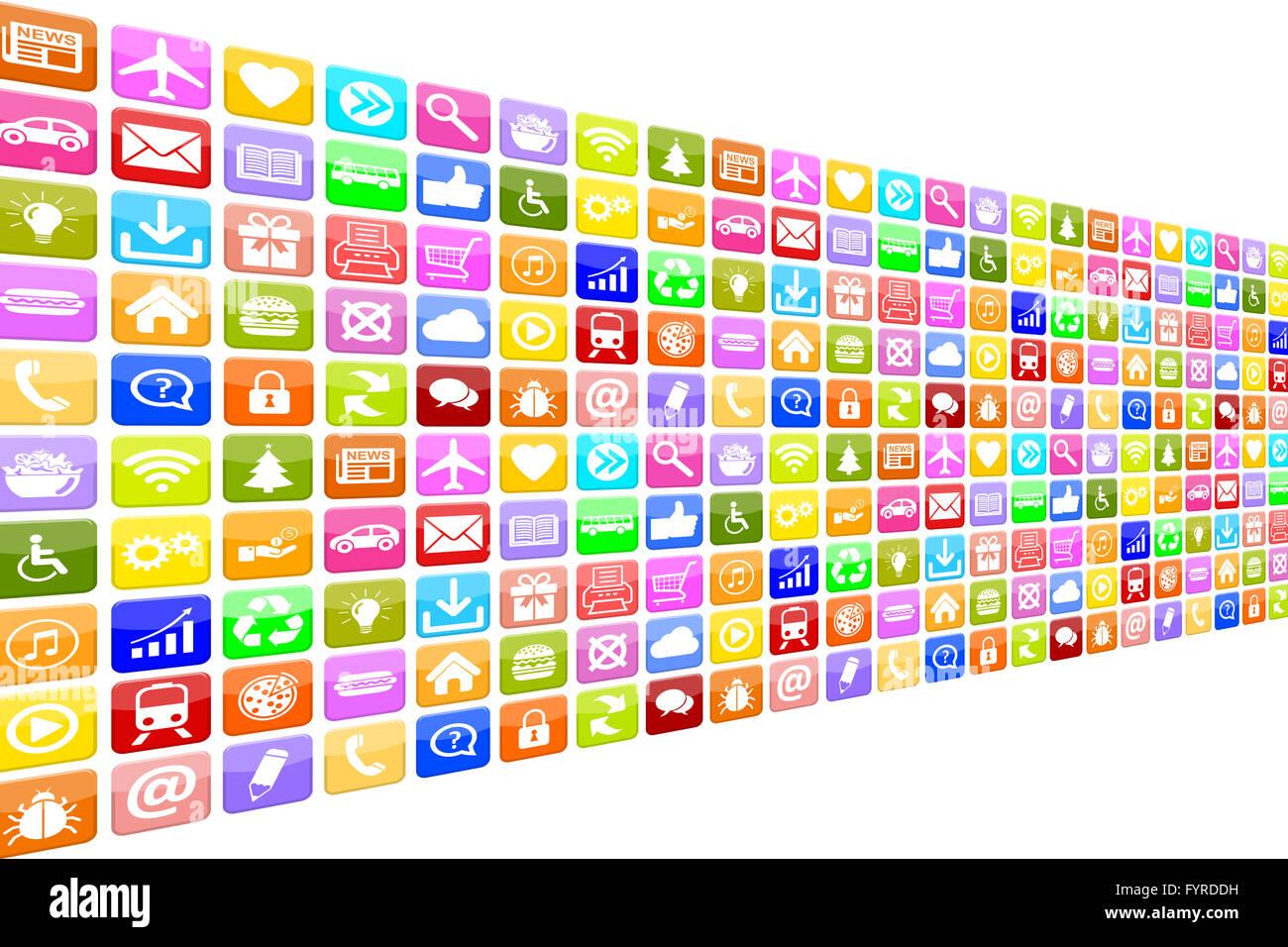 Aplicaciones Aplicaciones App Icon Set iconos für Handy oder Smartphone Imagen De Stock