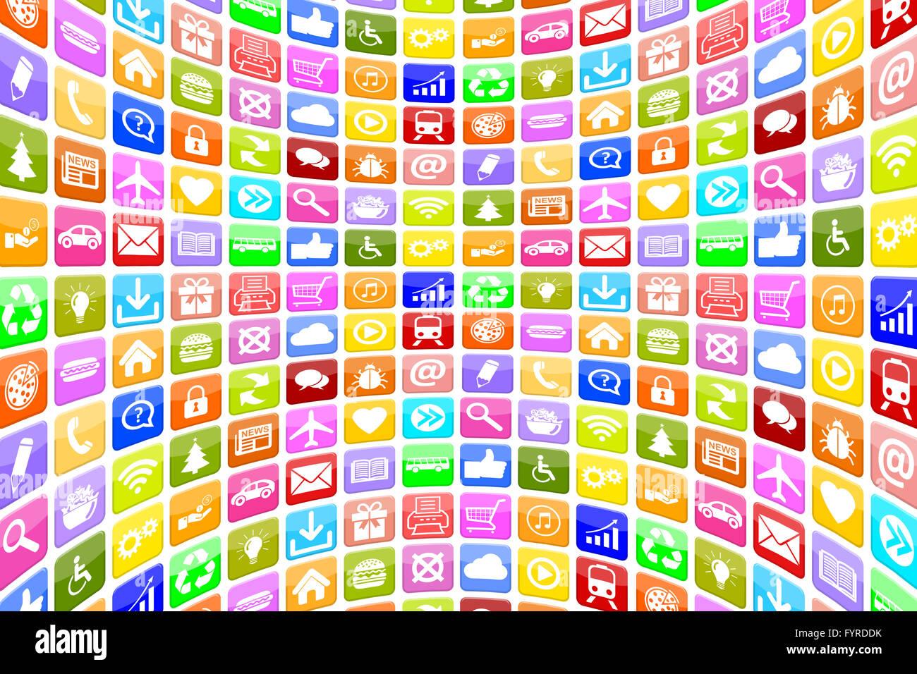 Aplicaciones Aplicaciones App Icon iconos für Handy oder Hintergrund Smartphone Imagen De Stock