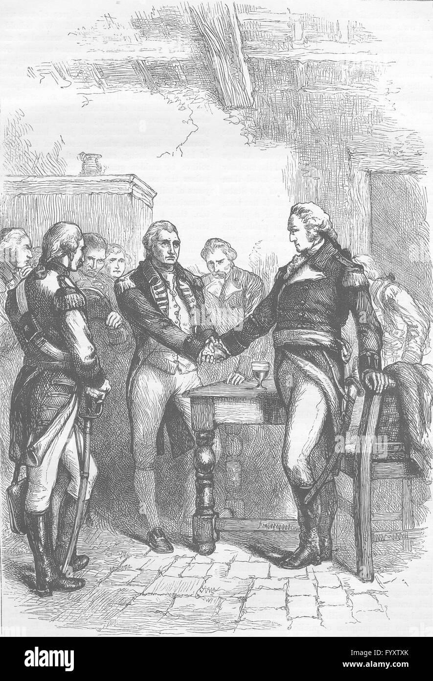 Estados Unidos: Washington despedirme de sus camaradas, grabado antiguo c1880 Imagen De Stock