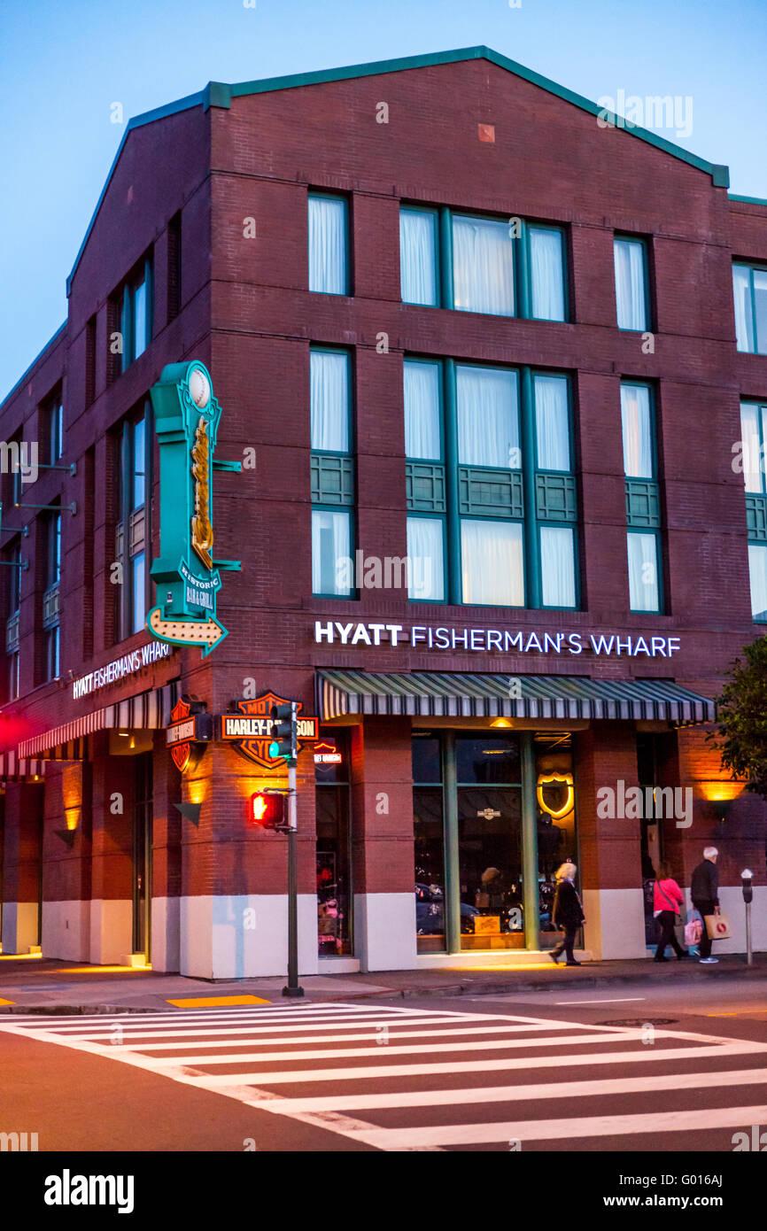 El Hotel Hyatt en Fishermans Wharf en San Francisco, California, en el punto norte y calles Taylor Imagen De Stock