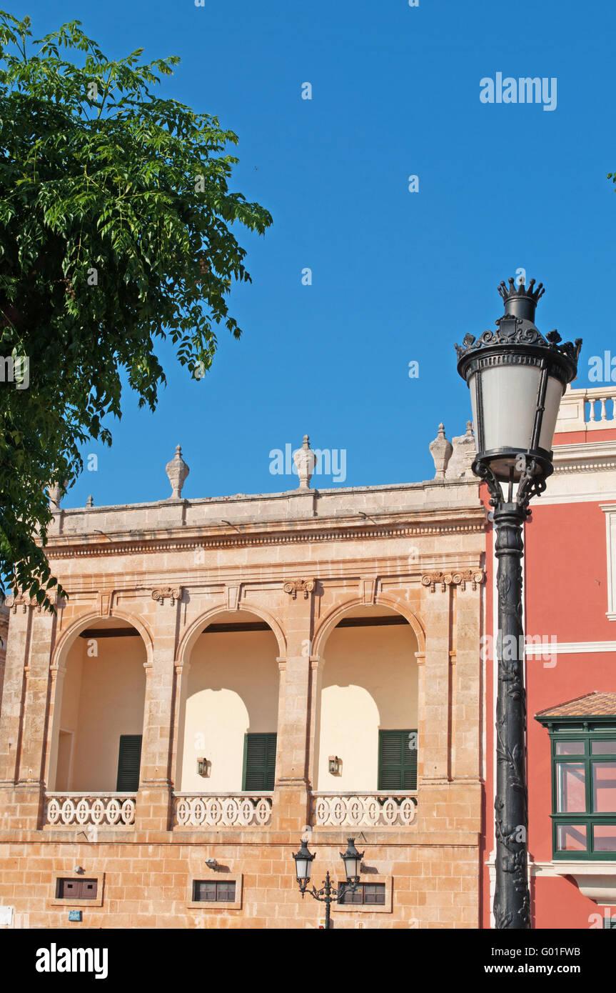Menorca, Islas Baleares: Ciutadella, detalles de Torre Saura Palace, uno de los principales lugares de interés Imagen De Stock