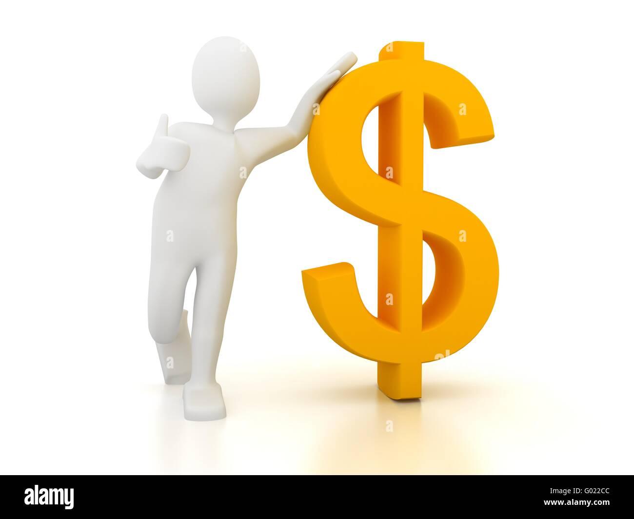 Persona en 3D con el signo del dólar sobre fondo blanco. Imagen De Stock