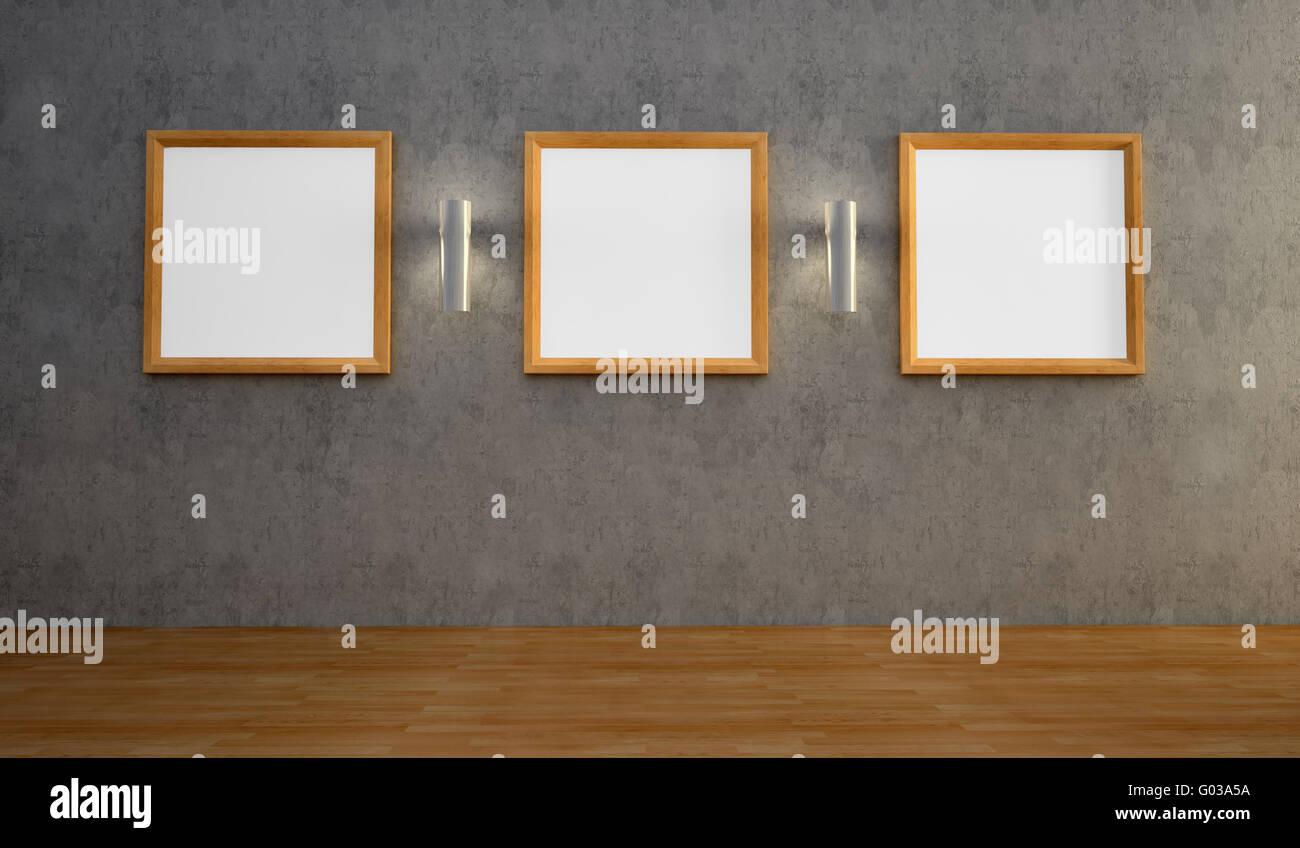 Interior con tres cuadros vacíos en la pared Imagen De Stock
