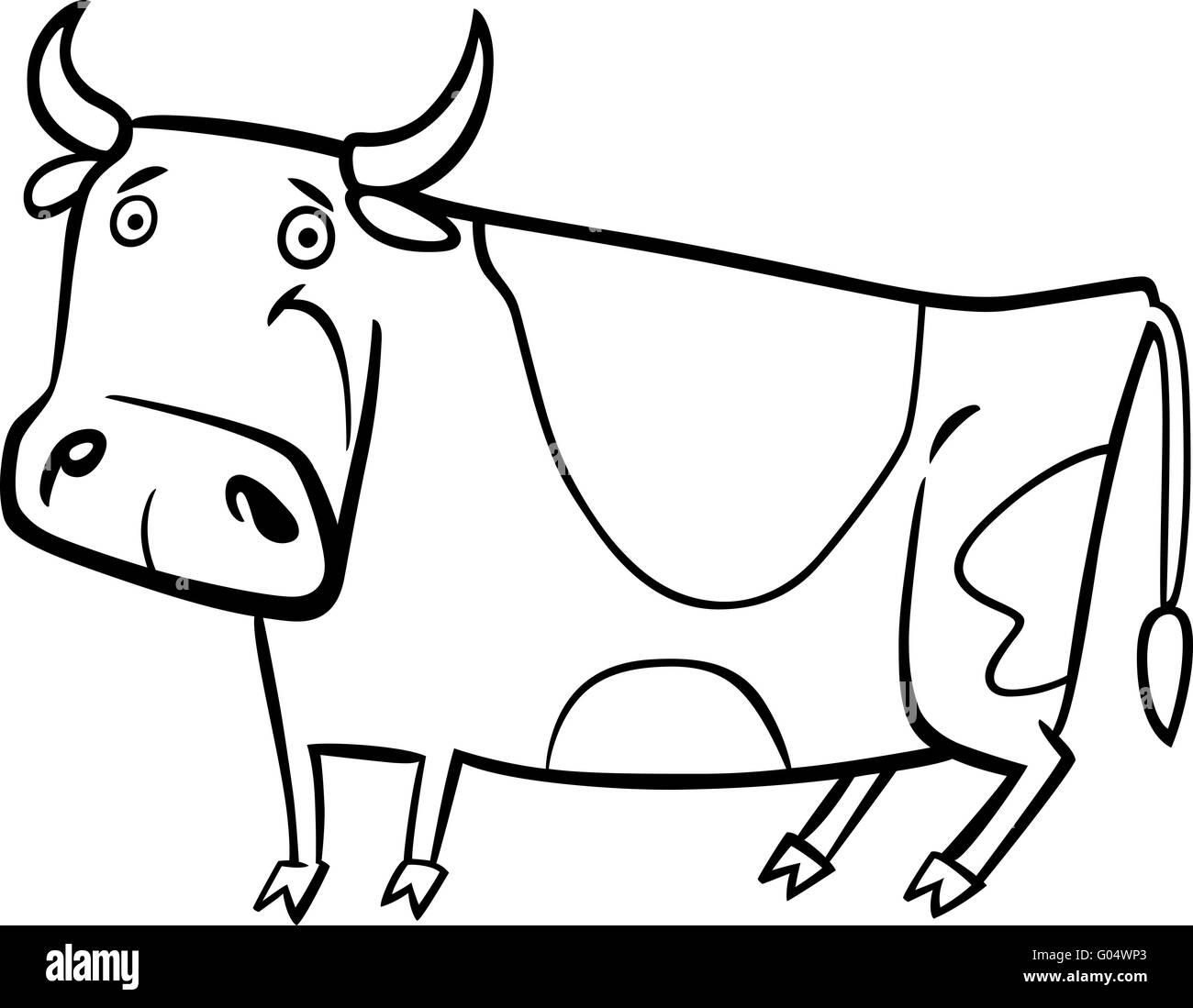 Ilustración De Dibujos Animados De La Granja Vaca Para Colorear Foto