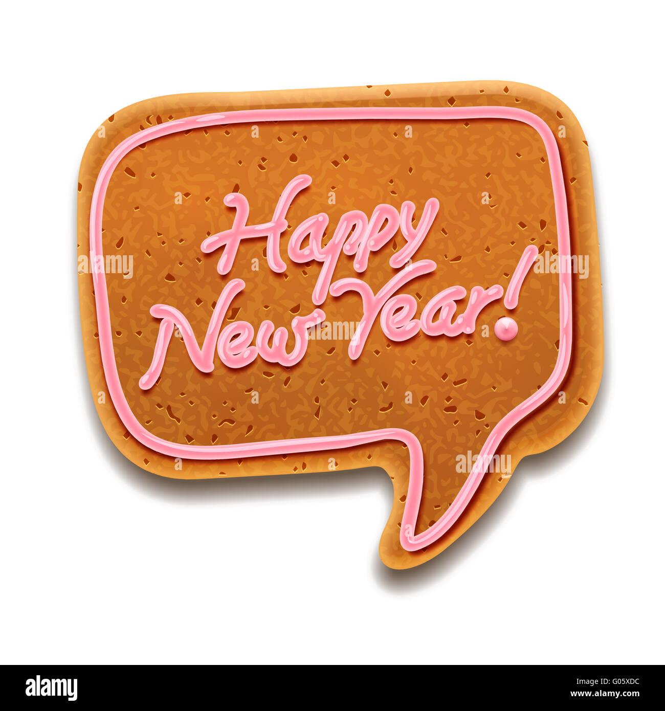 Feliz año nuevo discurso de burbuja, EPS vector image10 Imagen De Stock