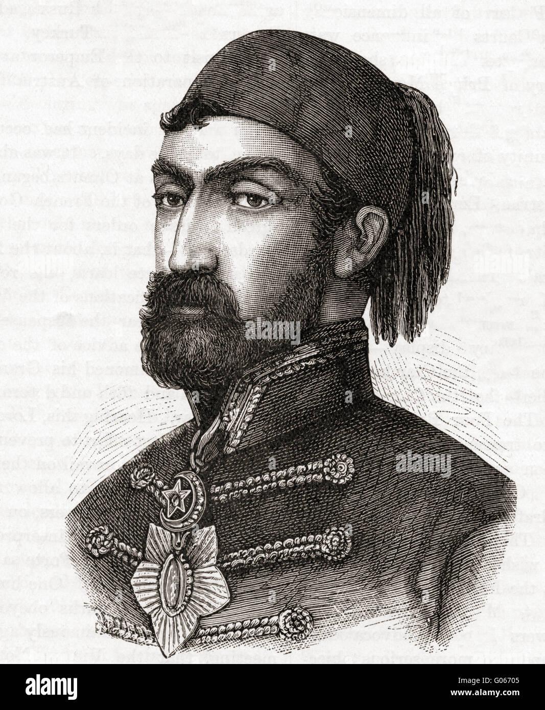 Omar Pasha Latas, 1806-1871. Y el gobernador general otomano. Foto de stock