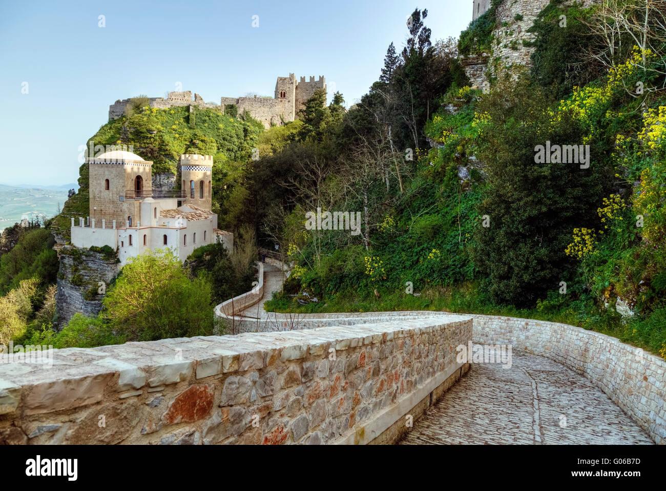 Erice, castillo, Trapani, Sicilia, Italia Imagen De Stock