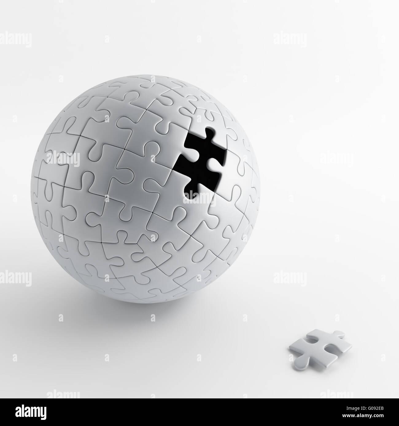 Bola de puzzle gris con un orificio de sacar uno Imagen De Stock
