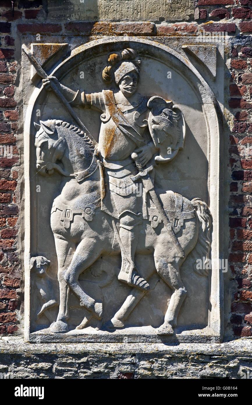Placa de socorro castillo, Huelshoff Havixbeck, Alemania Imagen De Stock