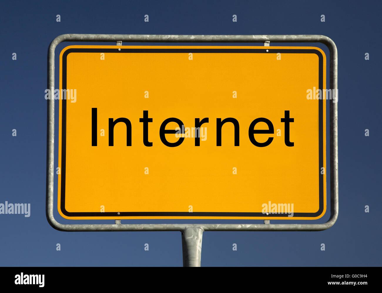 Ciudad Internet signo simbólico, foto Imagen De Stock