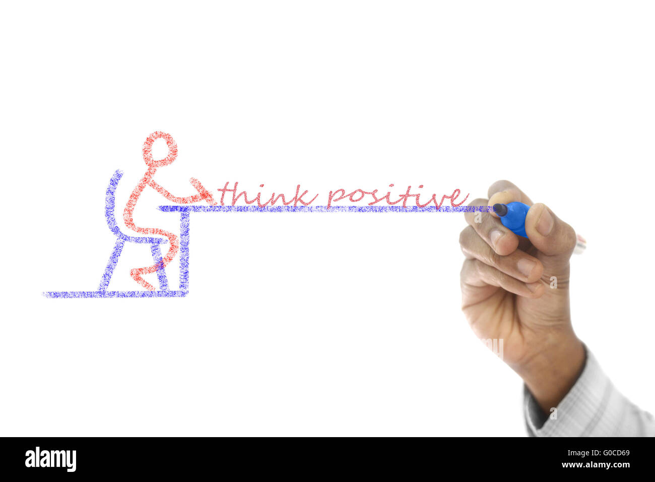 Pensar positivo escrito en junta de barrido transparente Imagen De Stock