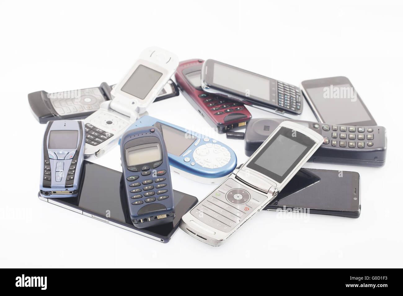 Viejos y nuevos teléfonos móviles, smartphone Imagen De Stock
