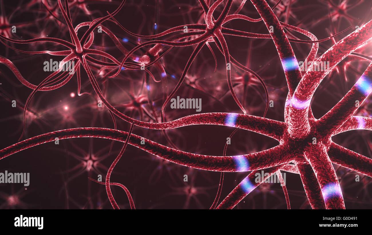 Resumen Antecedentes las neuronas. 3D prestados cerrar activa de una célula nerviosa. Imagen De Stock