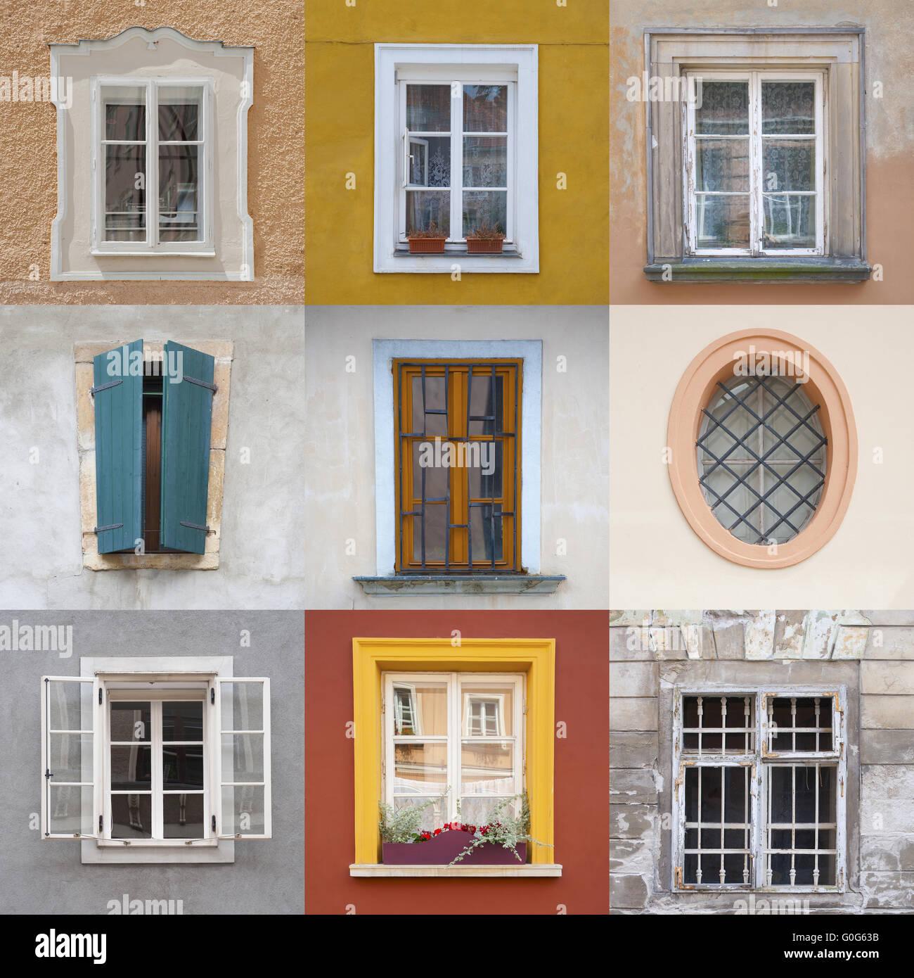 Conjunto De Cuadros De Diferentes Colores En Fachadas Coloridas Foto - Cuadros-diferentes