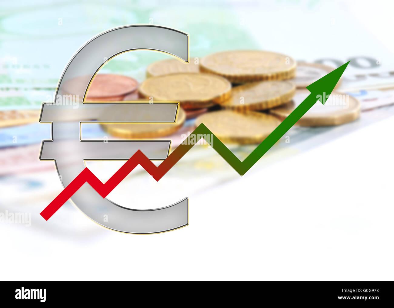 Gráfico hacia arriba con gradiente de color Imagen De Stock