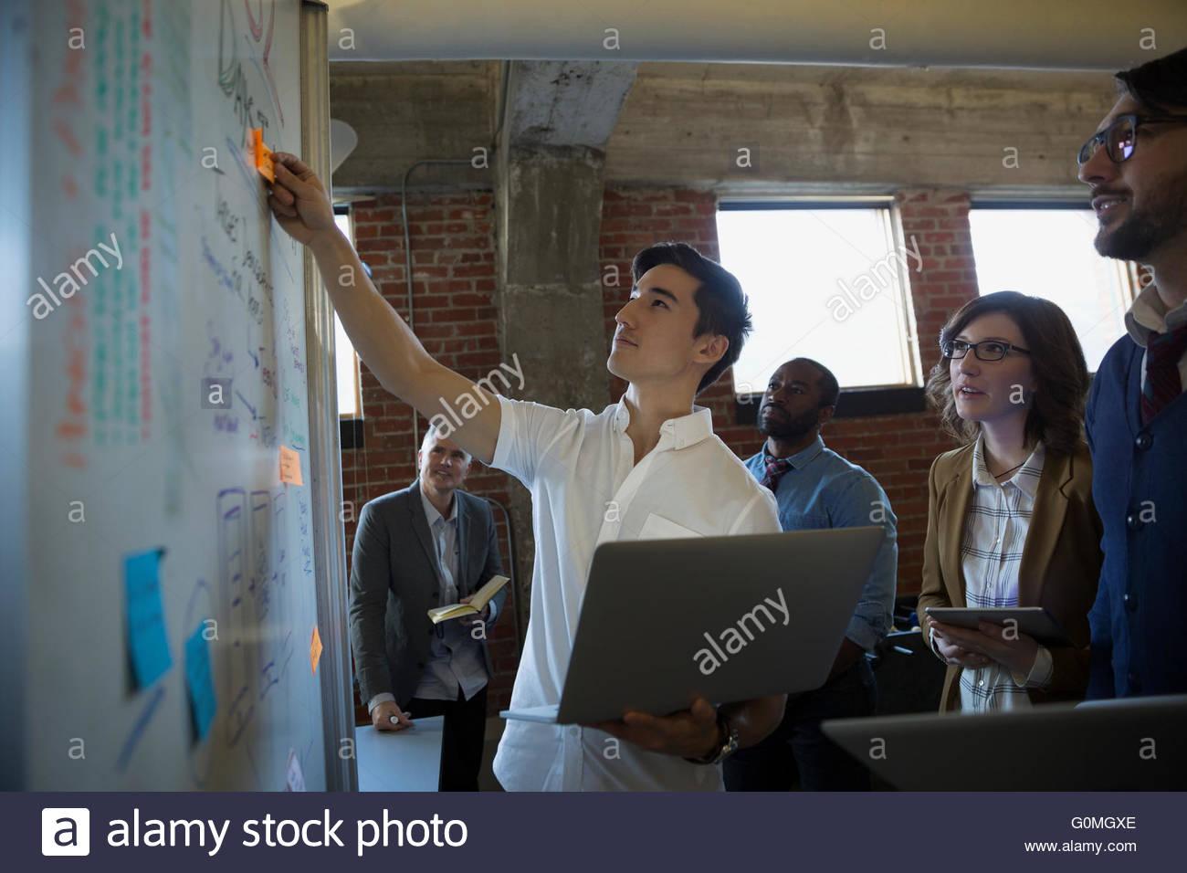 Los empresarios brainstorming en pizarra Imagen De Stock