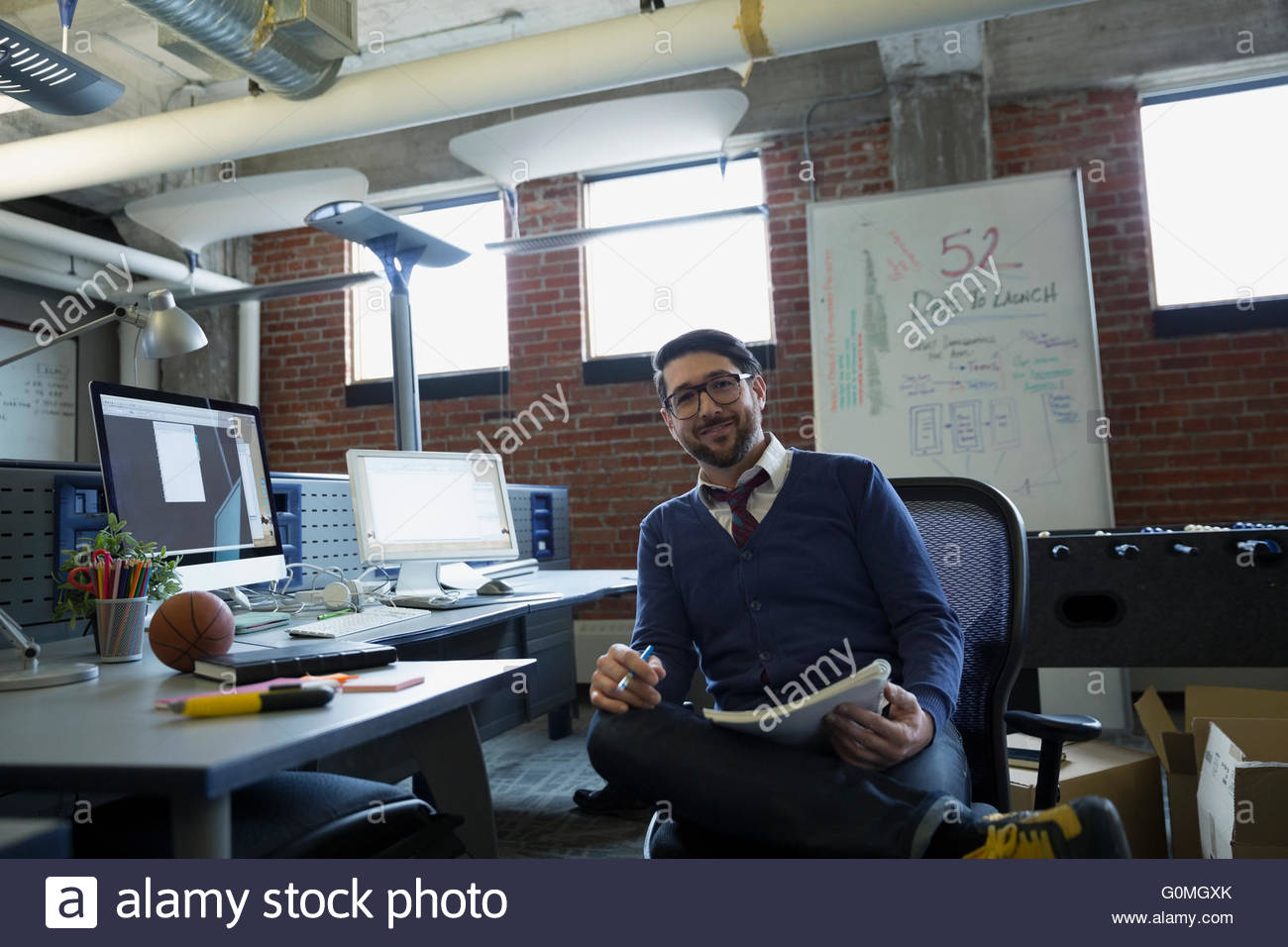 Retrato seguros emprendedor en Office Imagen De Stock