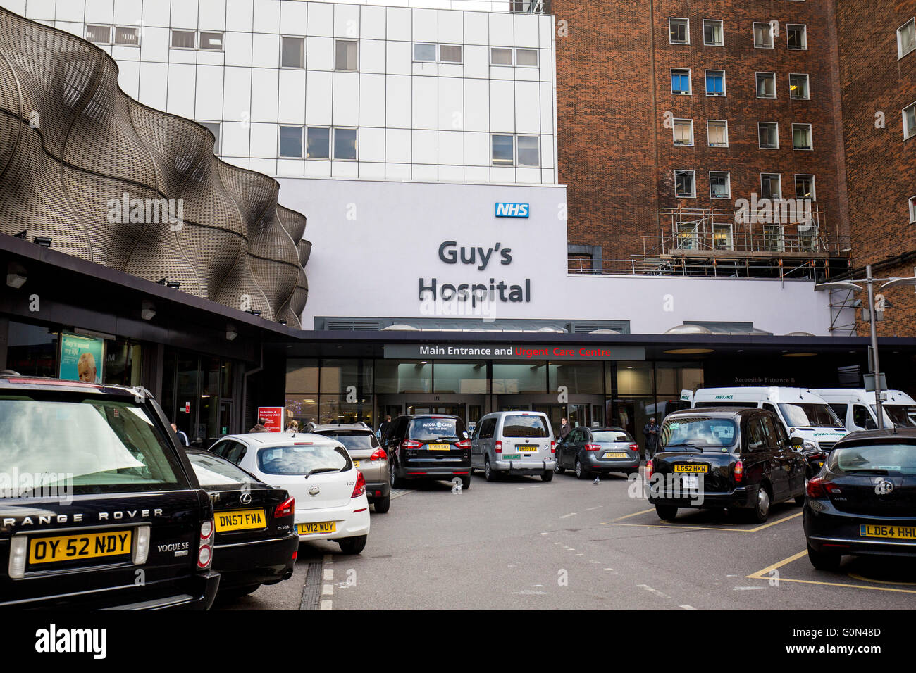 Guy's Hospital entrada principal GV NHS Imagen De Stock