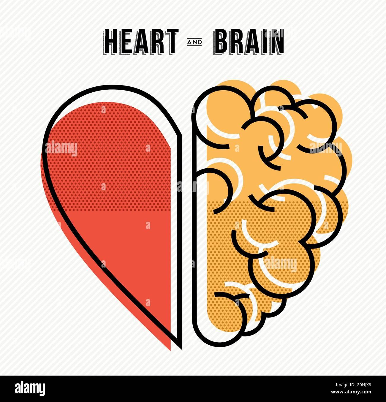 El corazón y el cerebro funcionan como concepto de diseño del equipo, línea plana arte ILUSTRACIÓN MODERNA. Vector Ilustración del Vector