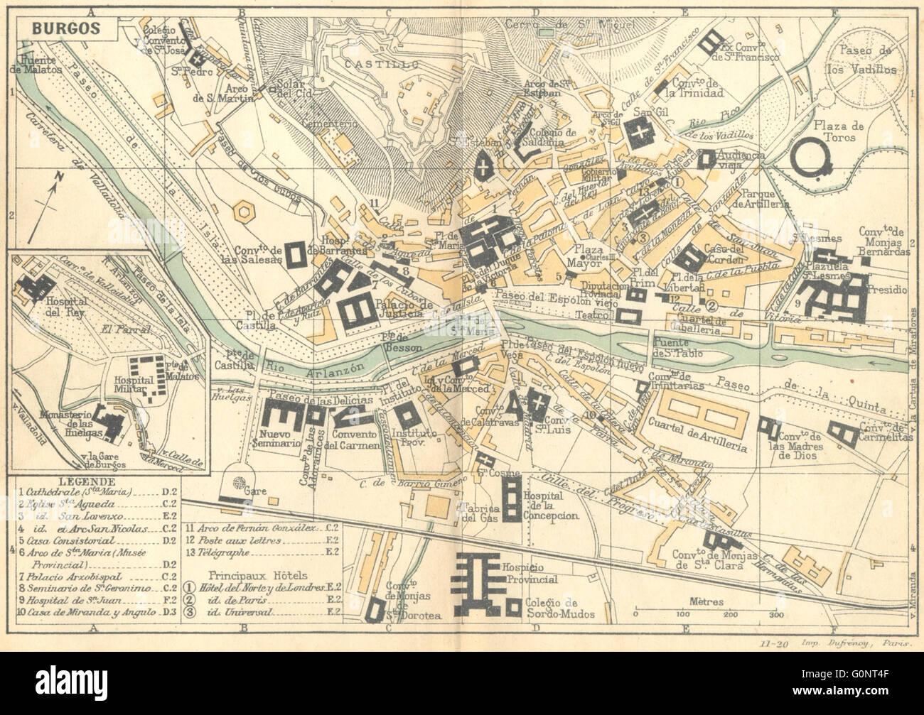 Mapa De España Burgos.Espana Burgos 1921 Vintage Mapa Foto Imagen De Stock