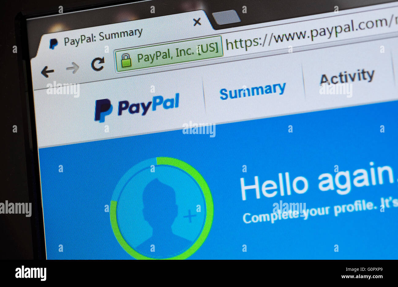 Página de inicio de internet Resumen de paypal Imagen De Stock