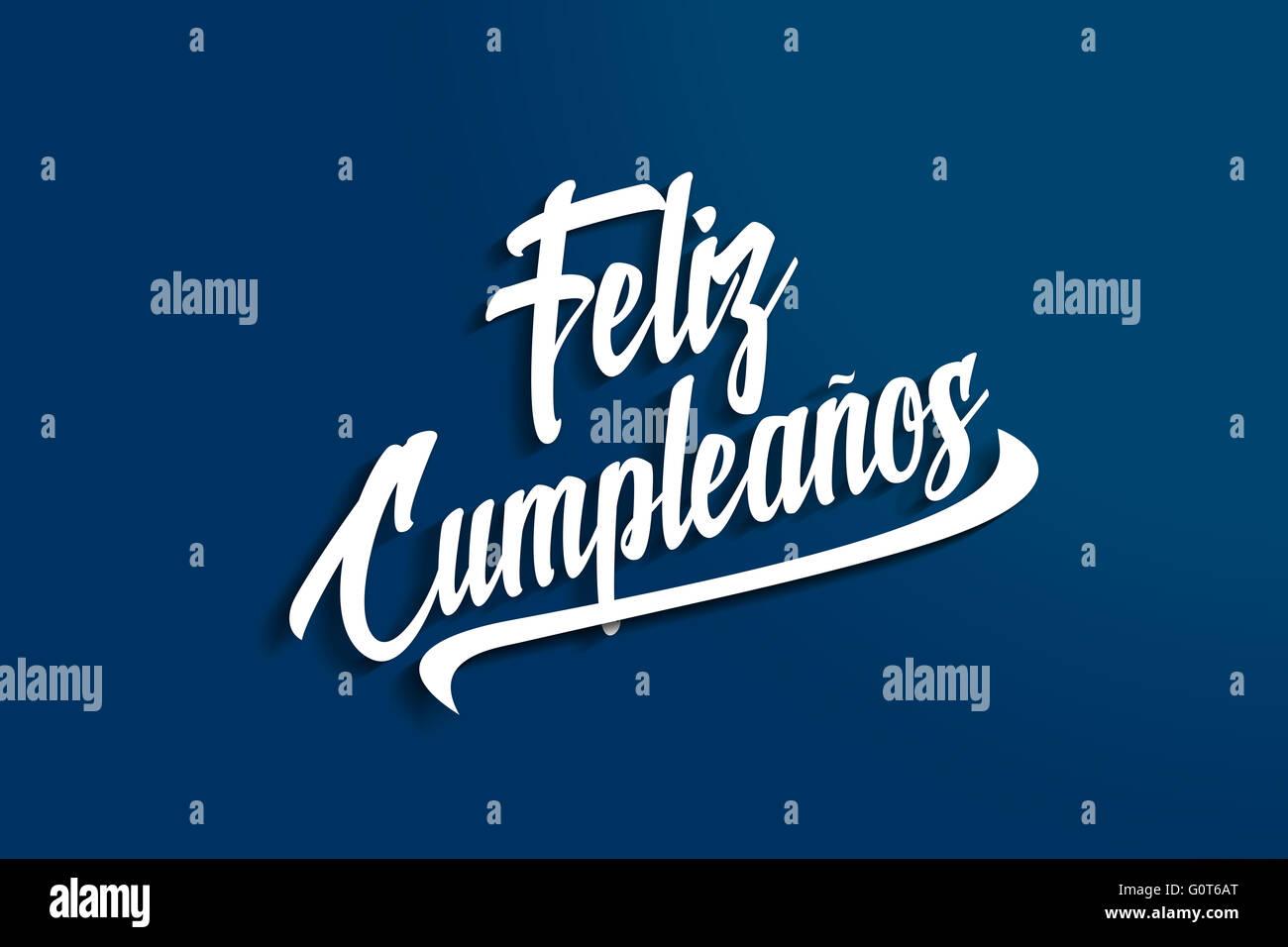 Feliz Cumpleanos - Feliz Cumpleaños en español - Aniversario Postal de felicitación - Ilustración Imagen De Stock