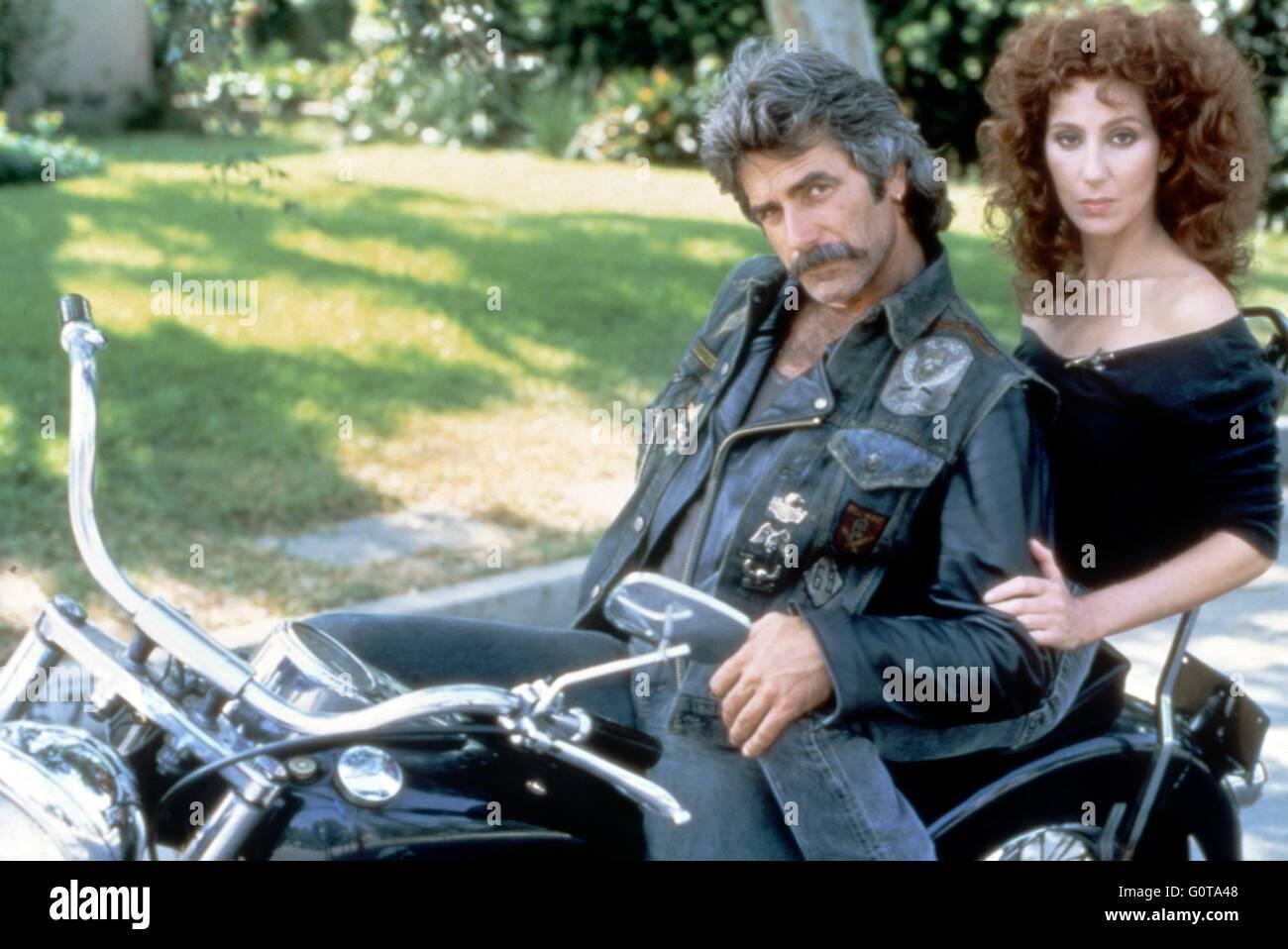 Sam Elliott y Cher / máscara / 1985 dirigida por Peter Bogdanovich (Universal Pictures) Imagen De Stock