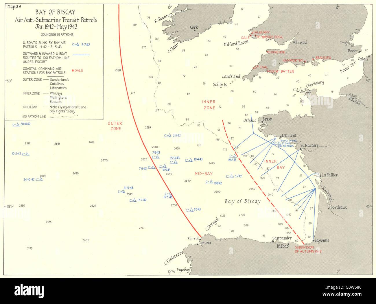 Golfo De Vizcaya Mapa.Golfo De Vizcaya Aire Patrullas Anti Submarine 1942 43