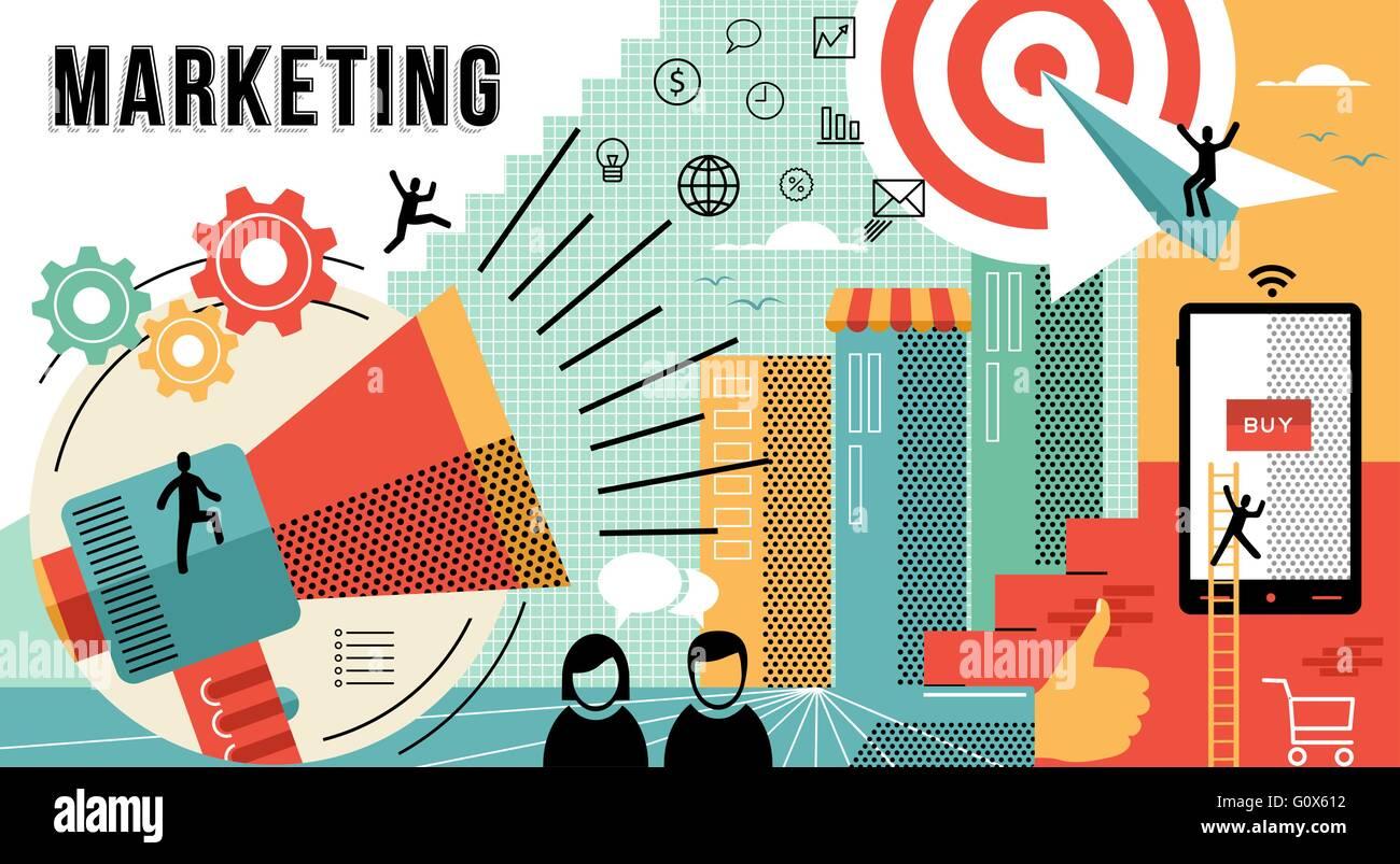 Marketing online business ilustración con modernos diseños en línea ...