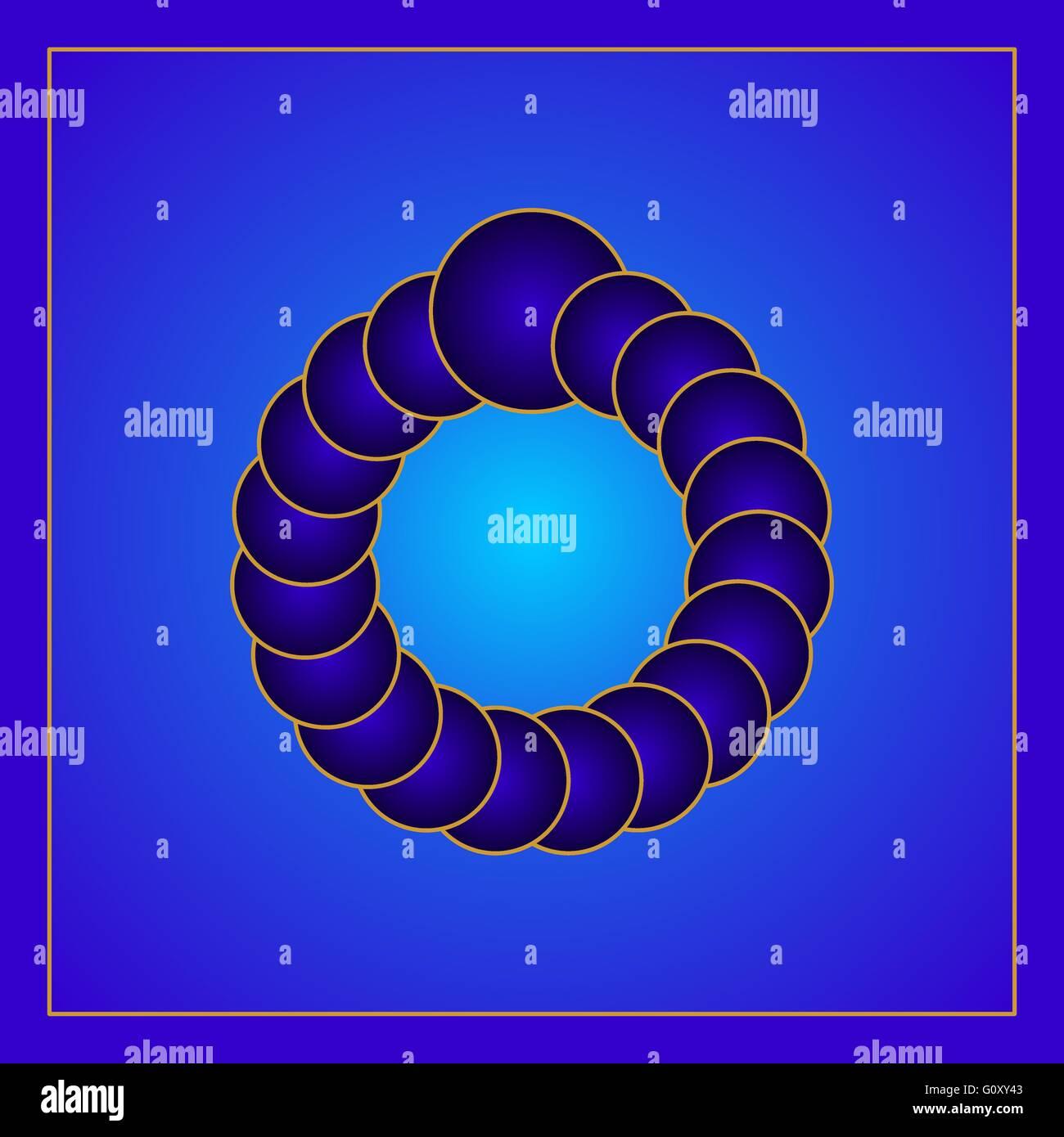 Óptico azul ilusión visual creado por los círculos formando un anillo virtual. Gradiente de color Imagen De Stock