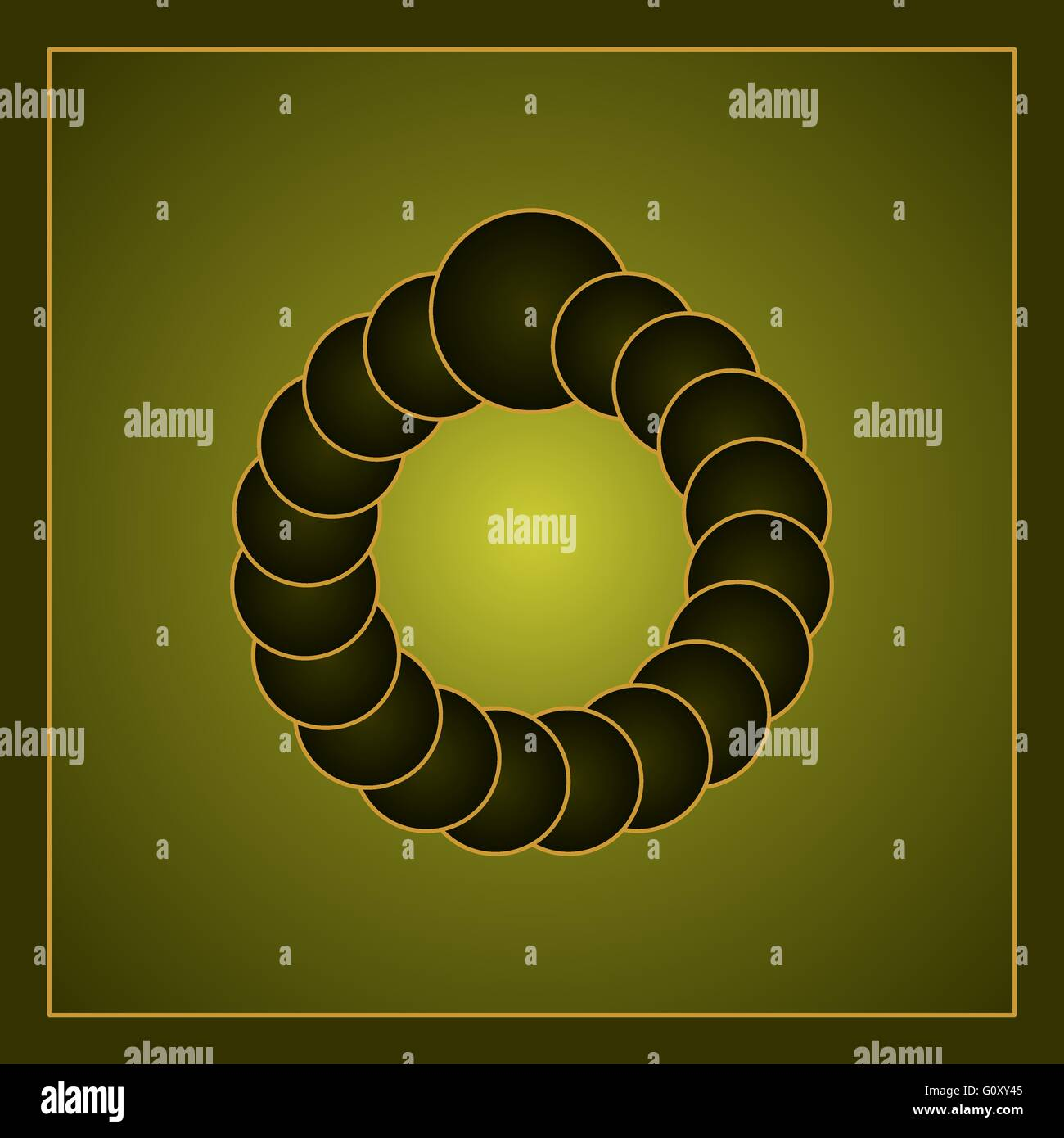 Óptico verde ilusión visual creado por los círculos formando un anillo virtual. Gradiente de color Imagen De Stock