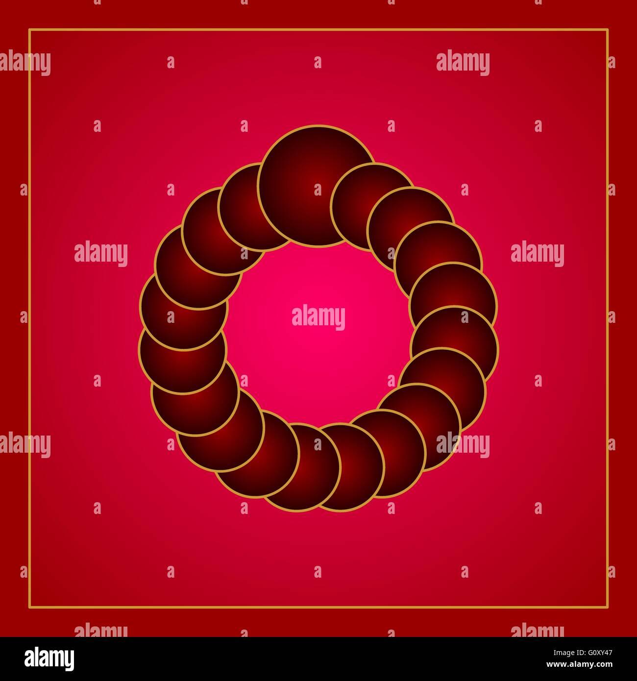 Óptico rojo ilusión visual creado por los círculos formando un anillo virtual. Gradiente de color Imagen De Stock