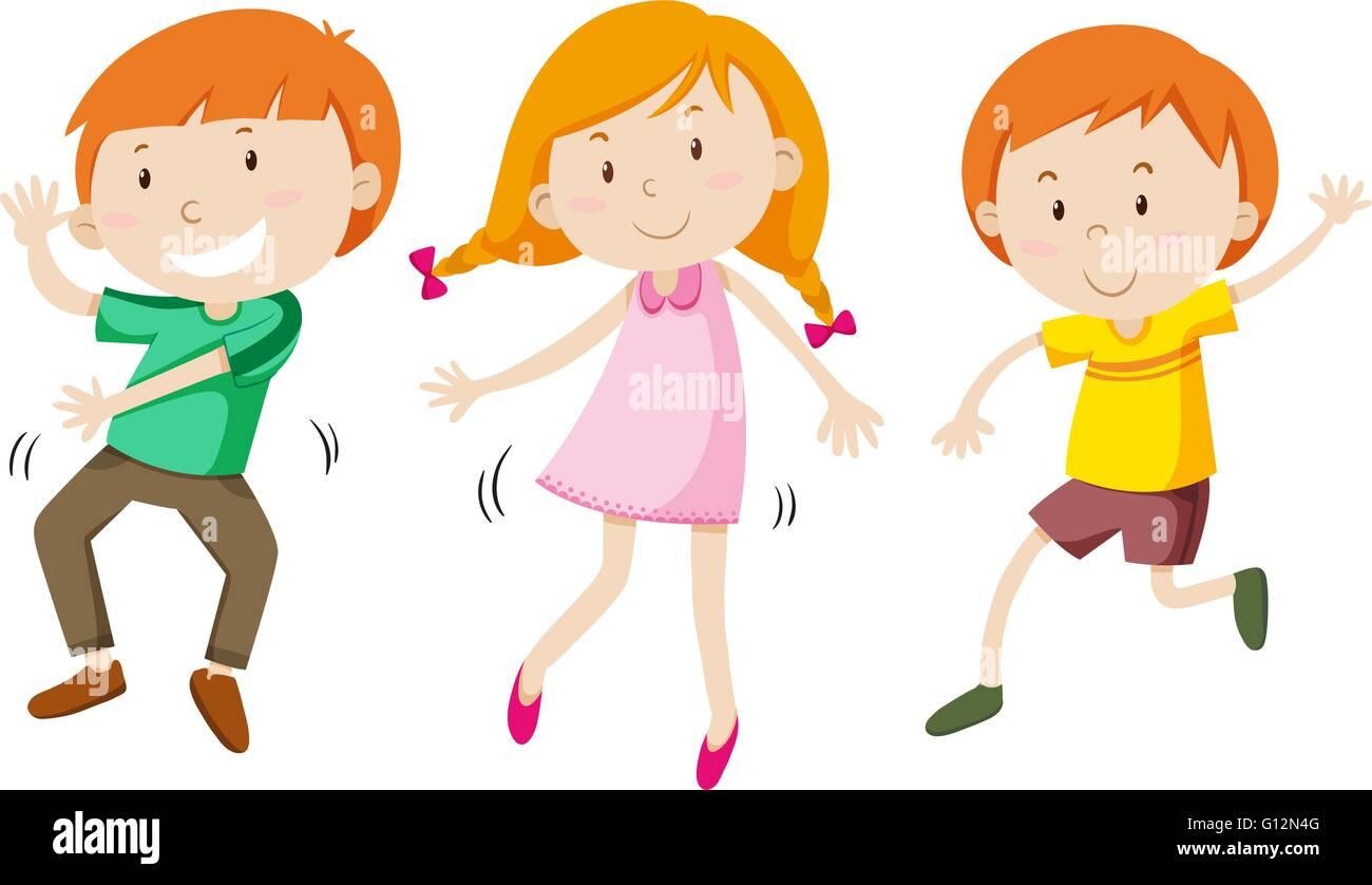 Los Niños Y Niñas Bailando Ilustración Ilustración Del