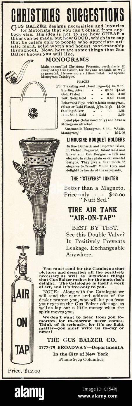 Original antiguo vintage revista americana anuncio desde la época eduardiana, data de 1910. Publicidad publicidad Foto de stock