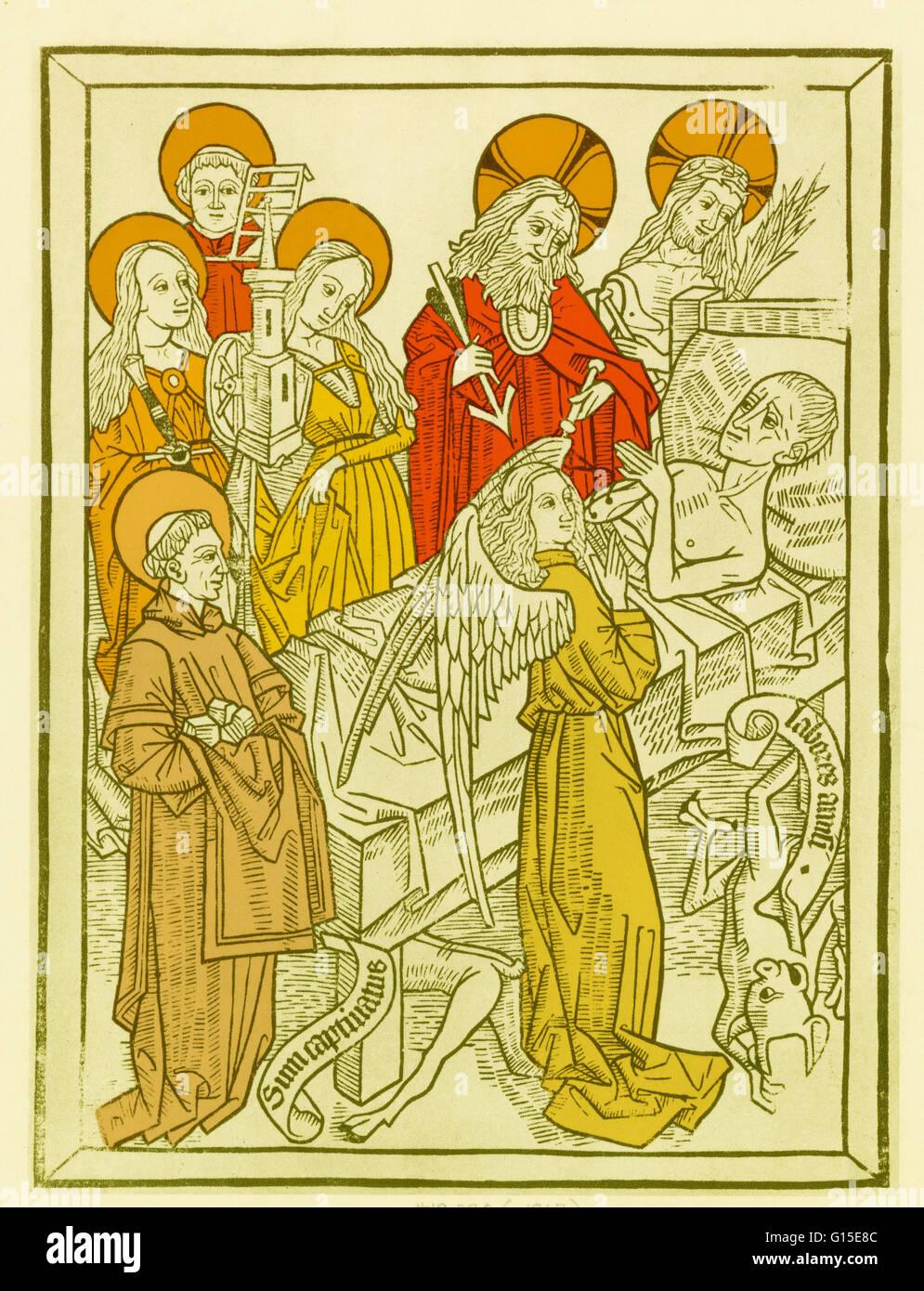 """El Ars moriendi (El arte de morir) son dos textos latinos que datan de alrededor de 1415 y 1450, que ofrecen consejos sobre los protocolos y procedimientos para una buena muerte, explicando cómo 'Die bien"""", de acuerdo con los preceptos cristianos de finales de la Edad Media. Se wa Foto de stock"""
