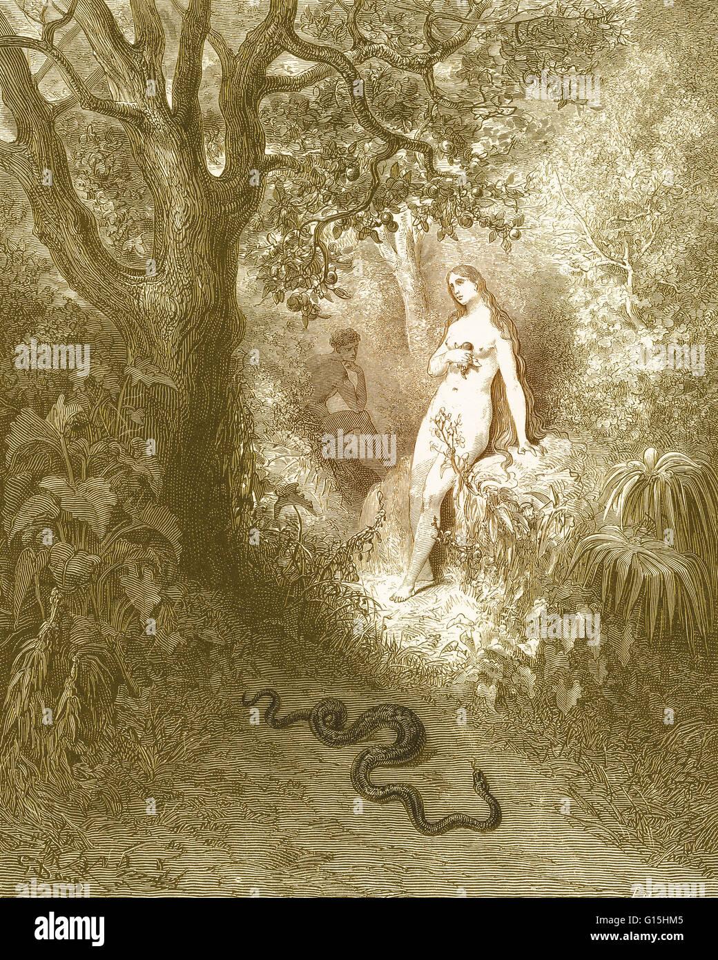 Ilustración De Adán Y Eva Y La Serpiente Por Gustave Doré